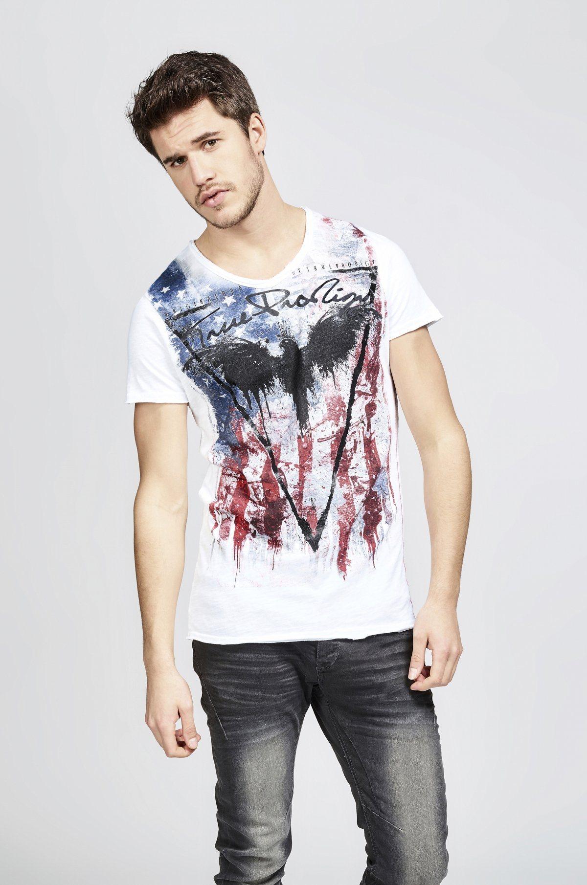 Herren trueprodigy T-Shirt Eagle of death schwarz, weiß | 04057124028232