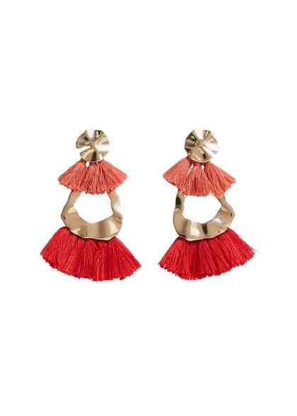 MANGO Pompon beads earrings