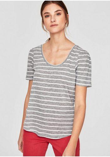 Damen s.Oliver RED LABEL Gestreiftes Leinen-Shirt grau | 04059998239707