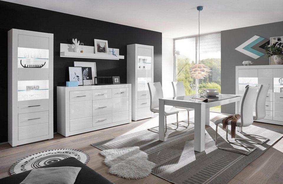 Wohnwand bianco 4 tlg online kaufen otto - Wohnwand abgerundet ...