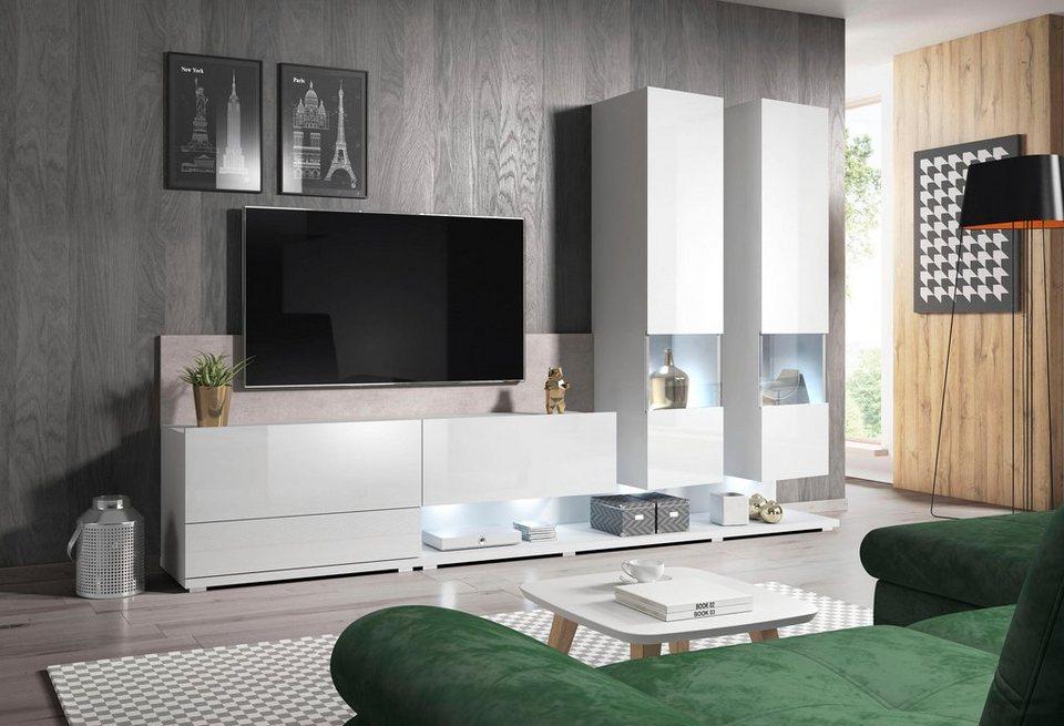 Wohnwand Pipe 3 Tlg Hochglanz Fronten Online Kaufen Otto