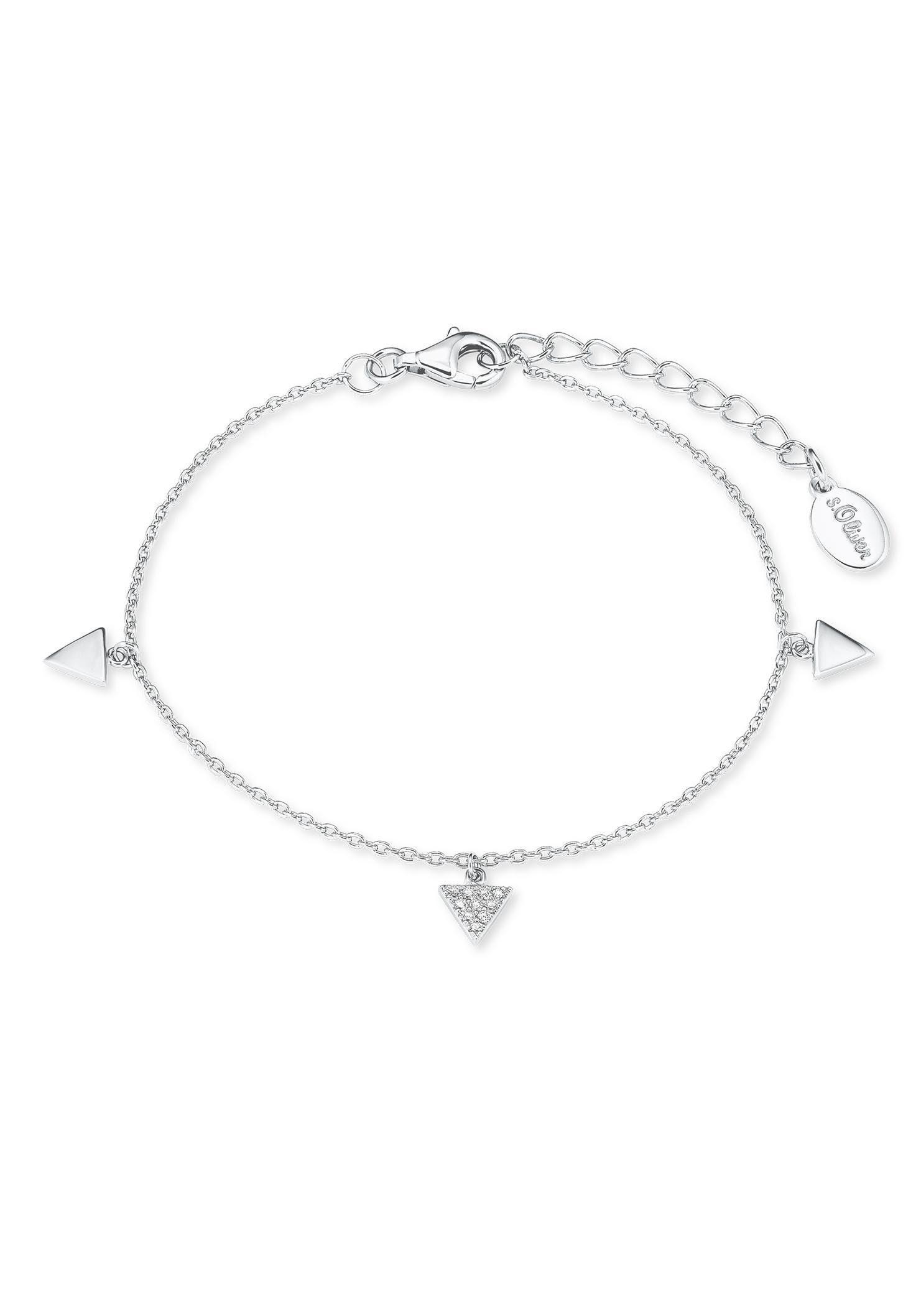 s.Oliver RED LABEL Silberarmband »Dreiecke, 2021827« mit Zirkonia