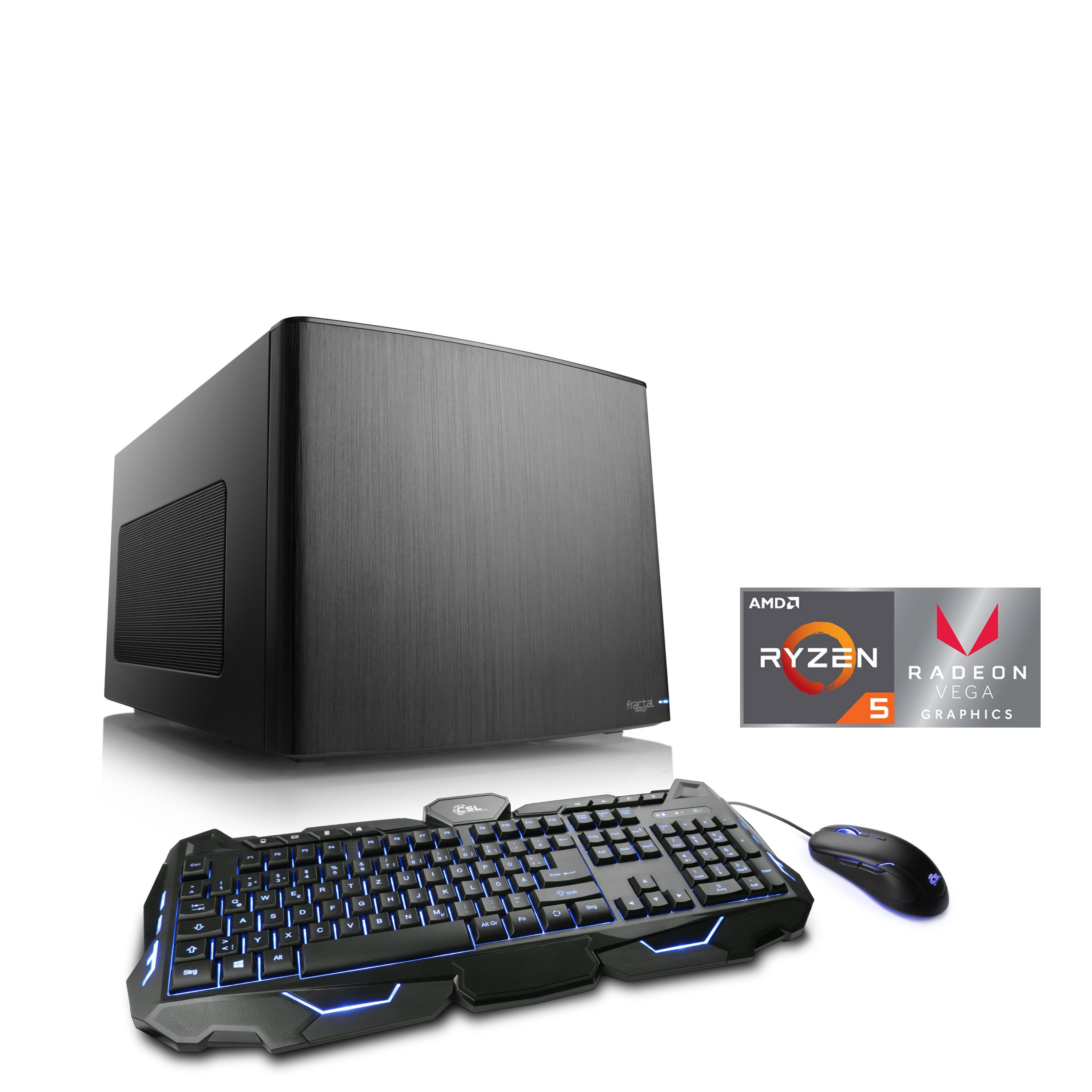 CSL Mini-ITX PC | Ryzen 5 2400G |Vega 11 | 16 GB DDR4 | SSD »Gaming Box T8588 Windows 10«