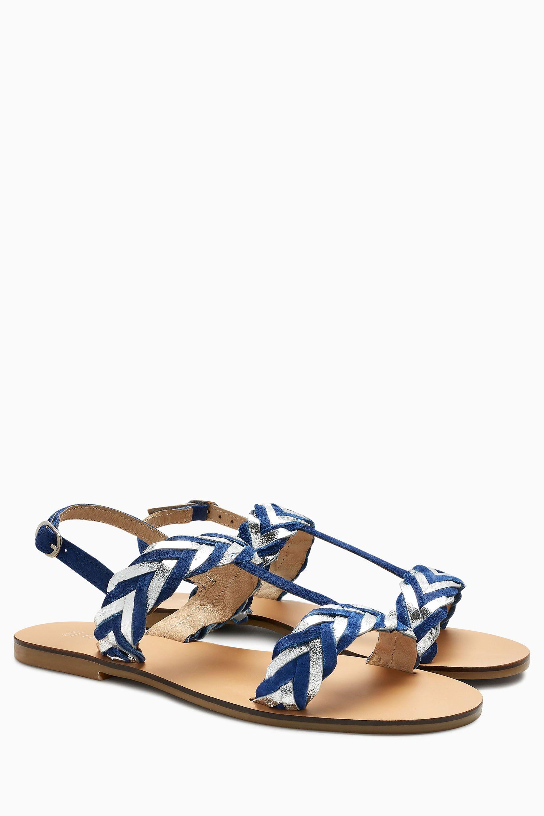 next Damen Metallic-Sandale mit Flechtdetail