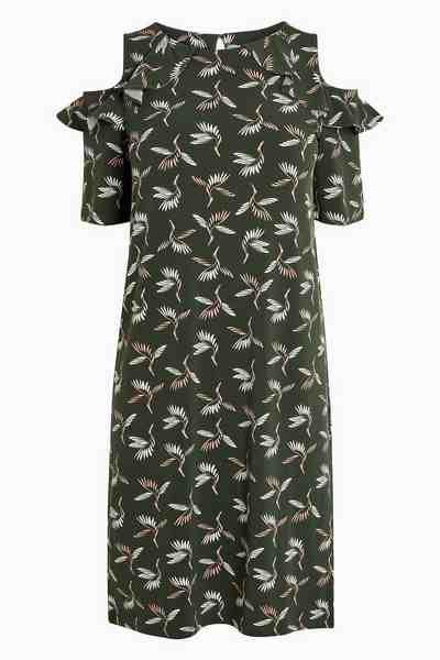 Next Schulterfreies Kleid mit Rüschen