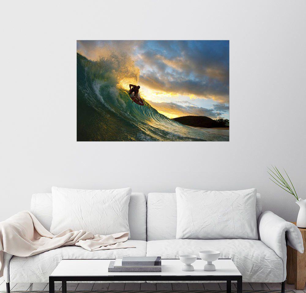 Posterlounge Wandbild - MakenaStockMedia »Skimboarder im Sonnenuntergang«