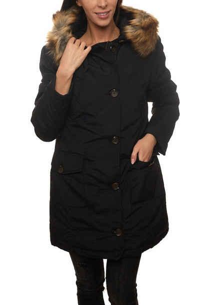 AJC Parka »AjC Parka für die Frau elegante Winter-Jacke Knopfleiste mit großen Knöpfen Freizeit-Jacke Schwarz«