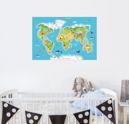 Posterlounge Wandbild - Kidz Collection »Weltkarte - Spanisch«