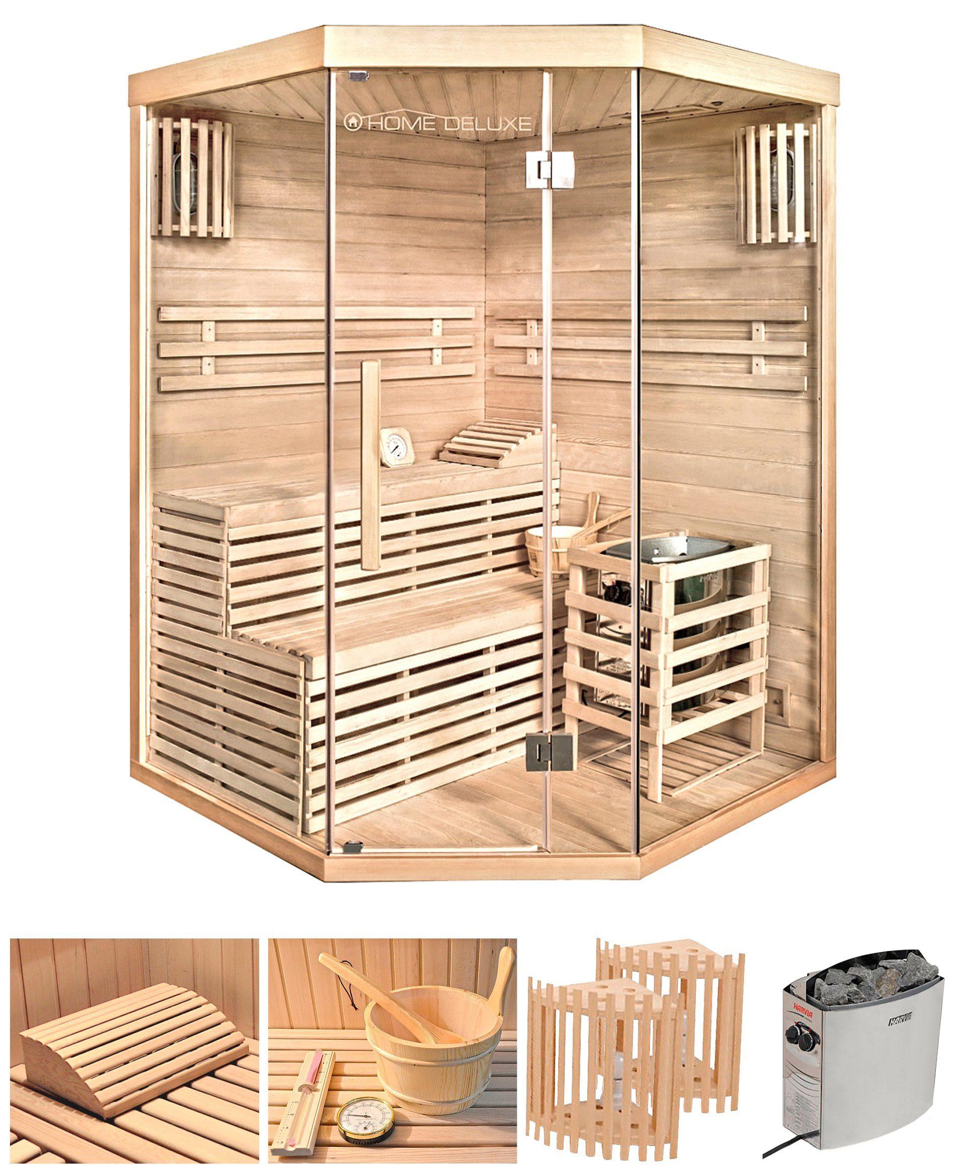 HOME DELUXE Set: Sauna »Skyline XL«, 150x150x200 cm, 50 mm, 6-kW-Ofen mit int. Steuerung