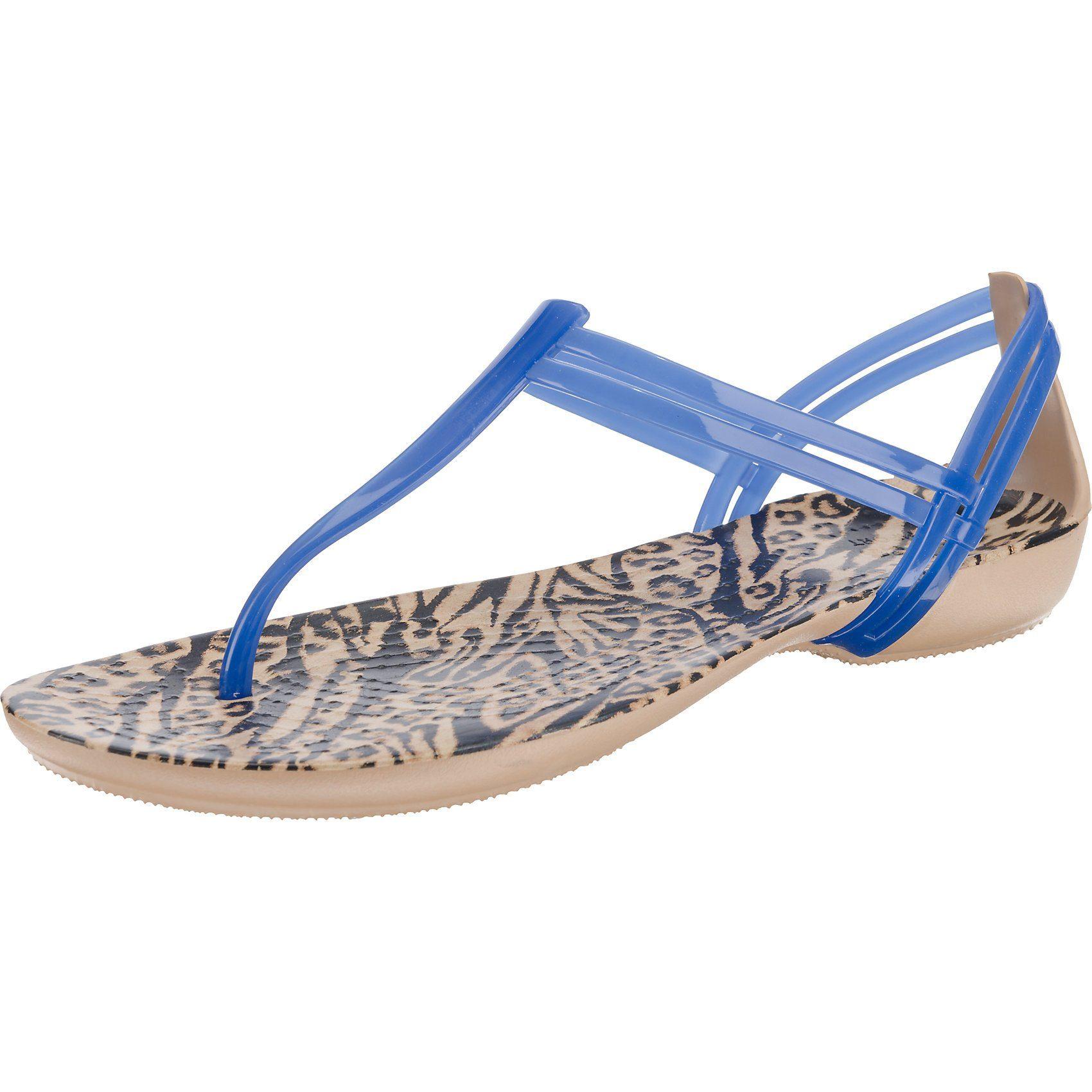 CROCS Isabella Graphic T-strap T-Steg-Sandalen  blau-kombi