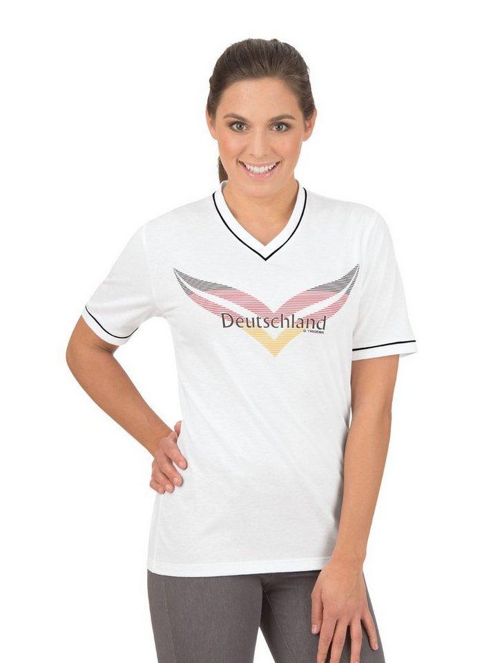 TRIGEMA Fanshirt in Deutschlandfarben | Sportbekleidung > Sportshirts | Weiß | Baumwolle | Trigema