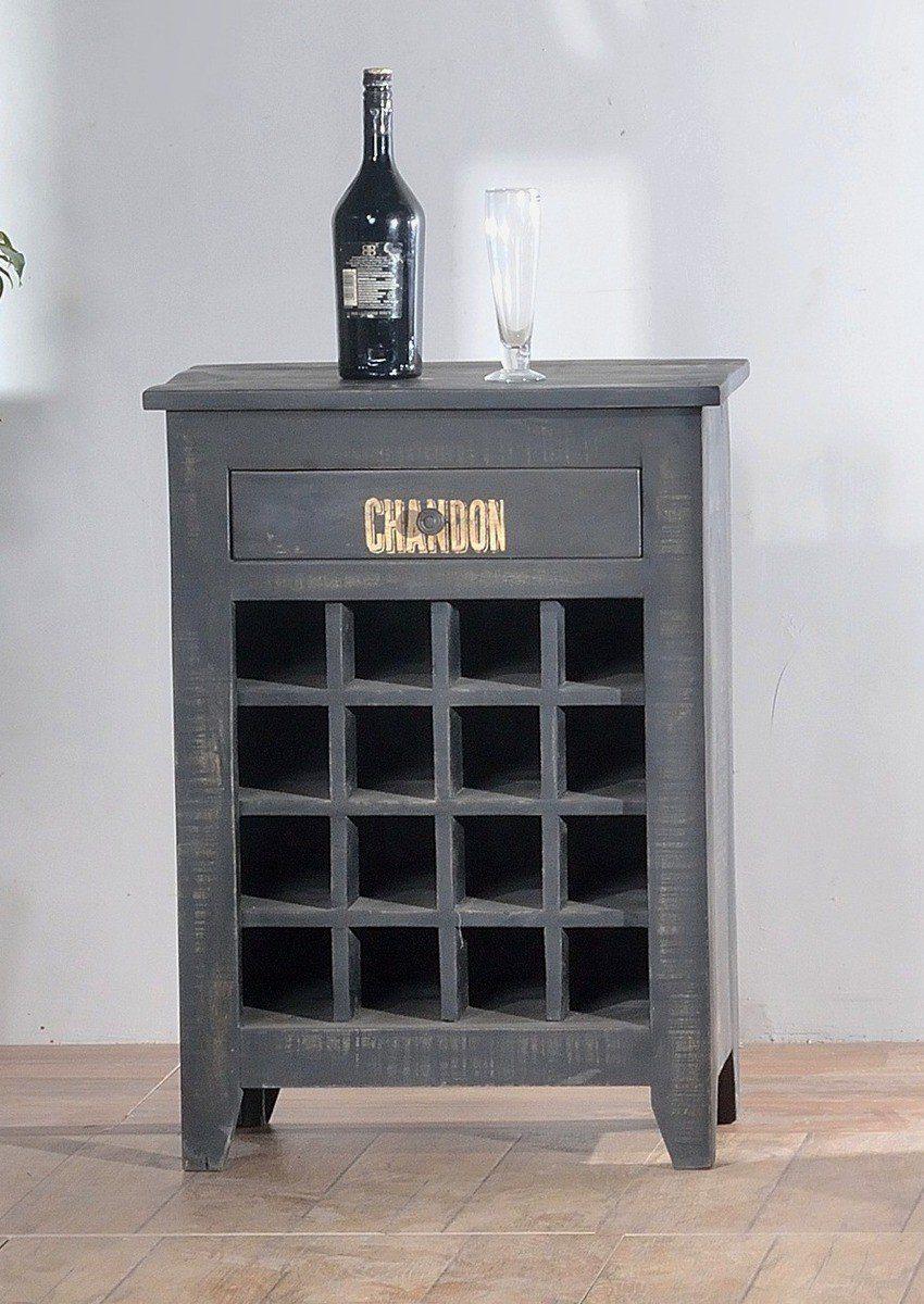 Kasper-Wohndesign Weinregal schwarz rustikal »DONA«