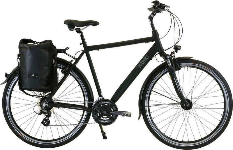 HAWK Bikes Trekkingrad »HAWK Trekking Gent Premium Plus Black«, 24 Gang Shimano Altus Schaltwerk