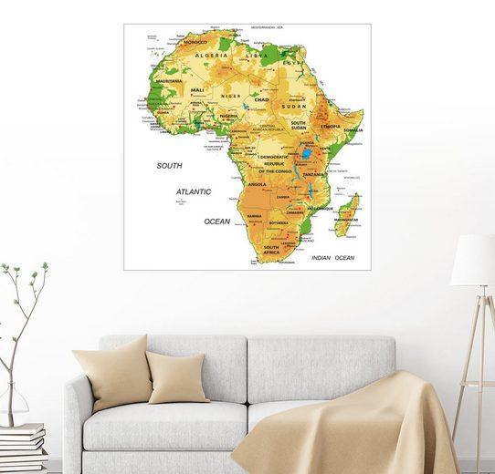 Posterlounge Wandbild »Afrika - Topographische Karte«