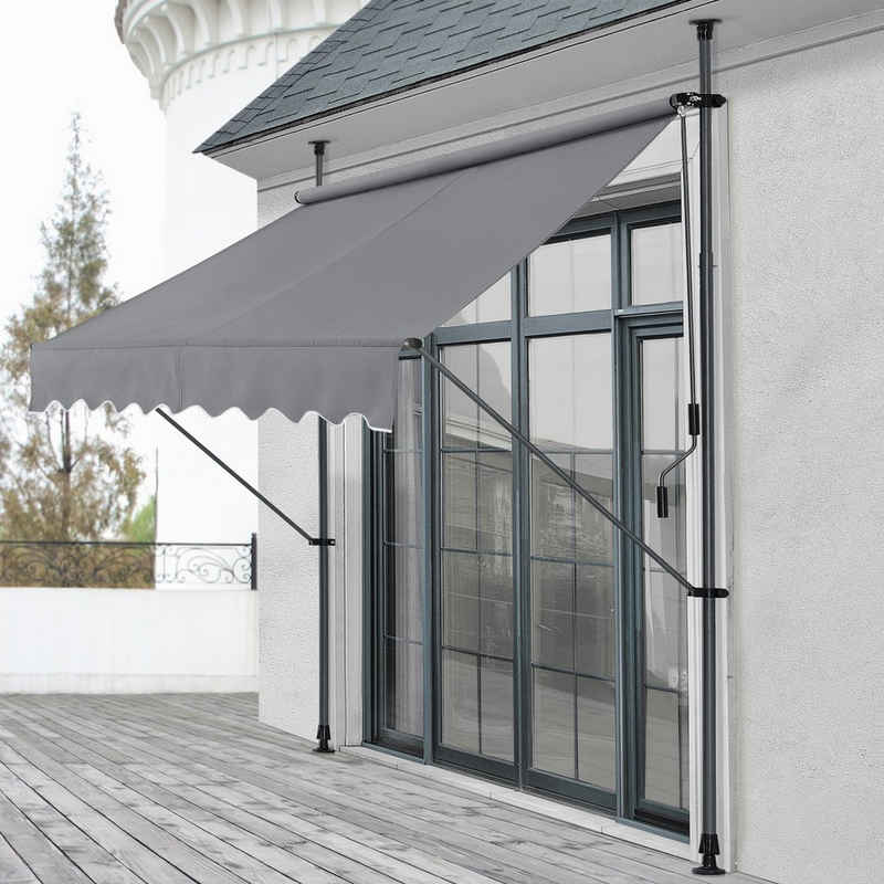 Pro-tec Klemmmarkise »Oeiras« Sichtschutz 150x120x200-300cm Balkonmarkise ohne Bohren Mittelgrau