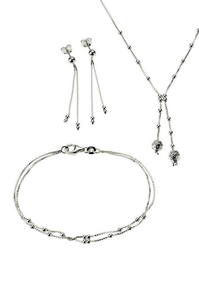 Schmuckset: Halskette, Armband und Ohrstecker (Set 4tlg.) - Geschenkidee! in Silber 925