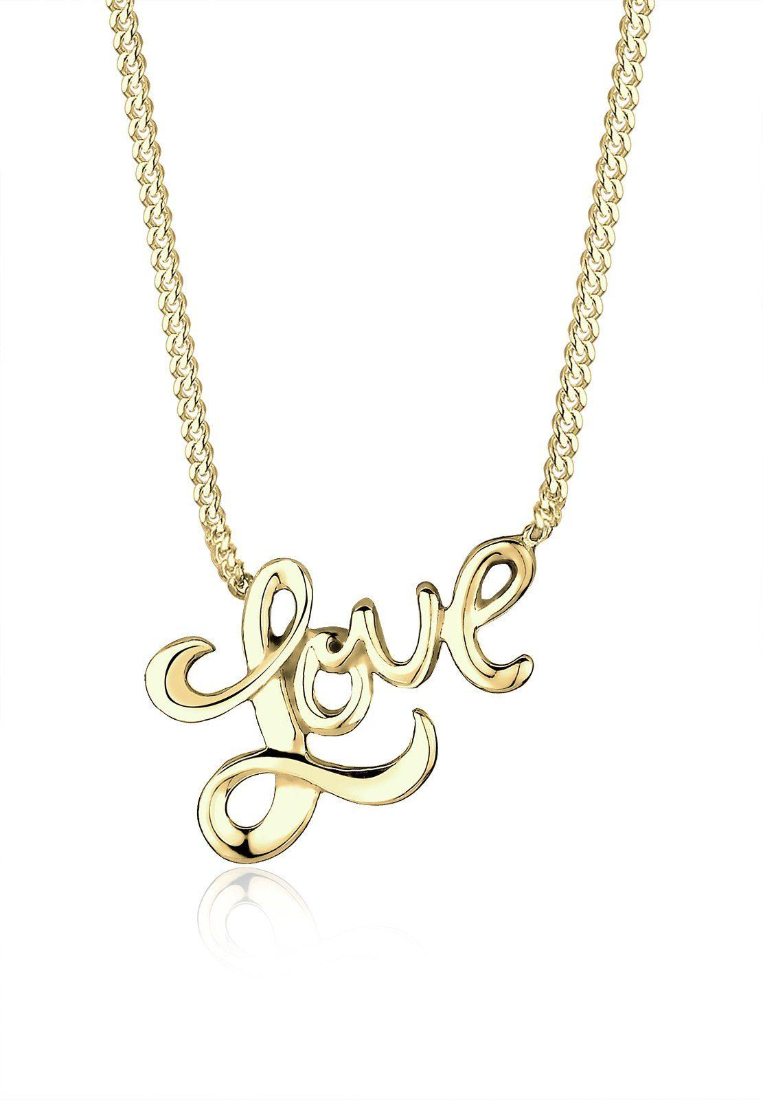 Elli Halskette »Love-Schriftzug 375 Gelbgold«