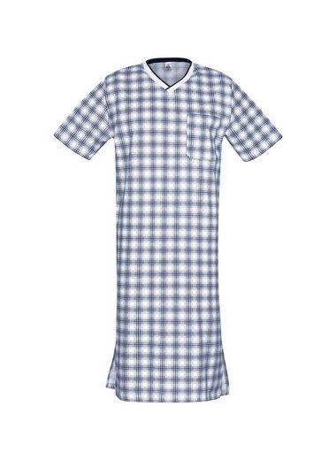 Trigema Halbarm Nachthemd mit Karomuster