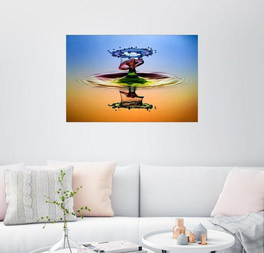 Posterlounge Wandbild - Muhammad Berkati »Wassertropfen in Regenbogenfarben«