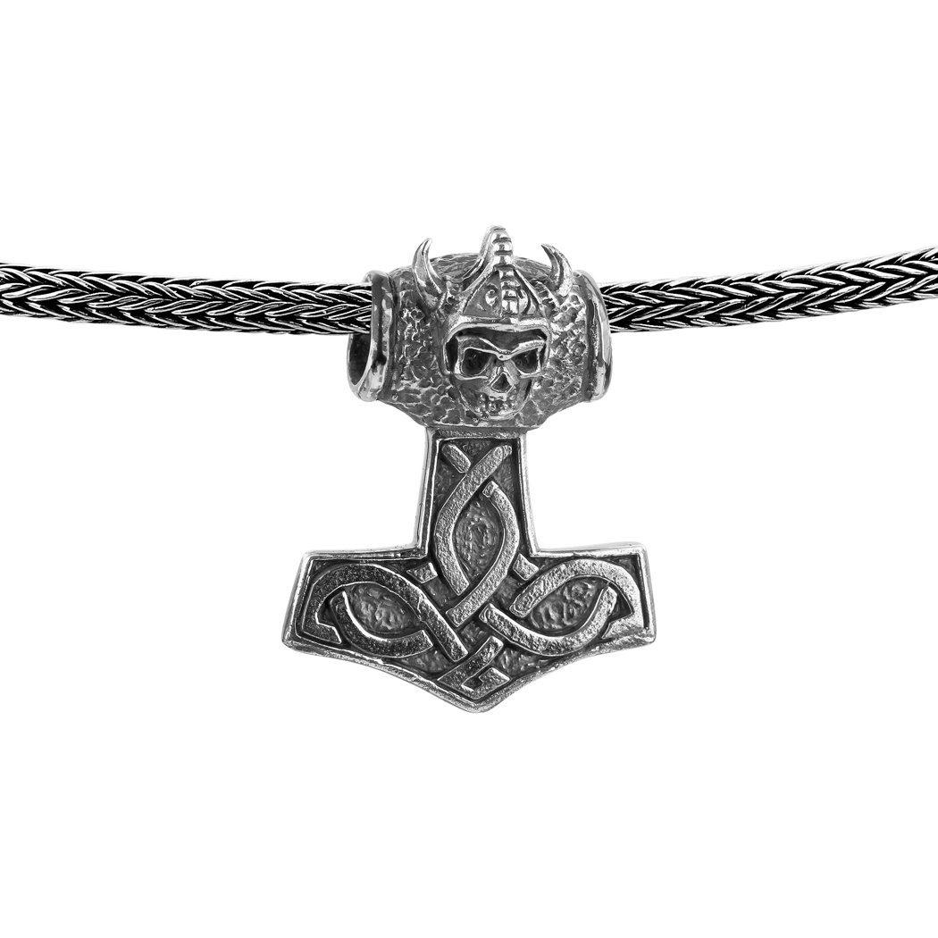 Kuzzoi Kette mit Anhänger (Set, 1 tlg), Herrenkette Zopfmuster mit Thor´s Hammer Anhänger