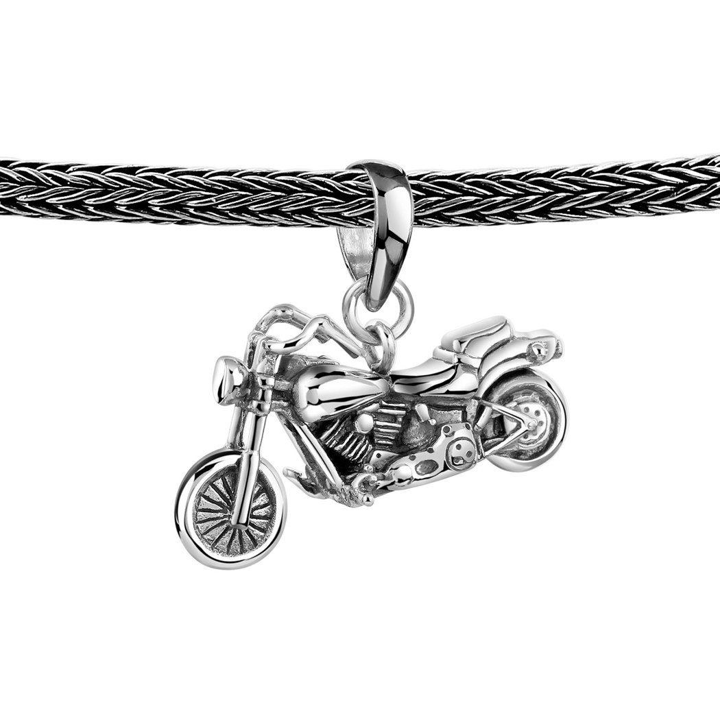 Kuzzoi Kette mit Anhänger (Set, 1 tlg), Herrenkette Zopfmuster mit Big Bike Anhänger