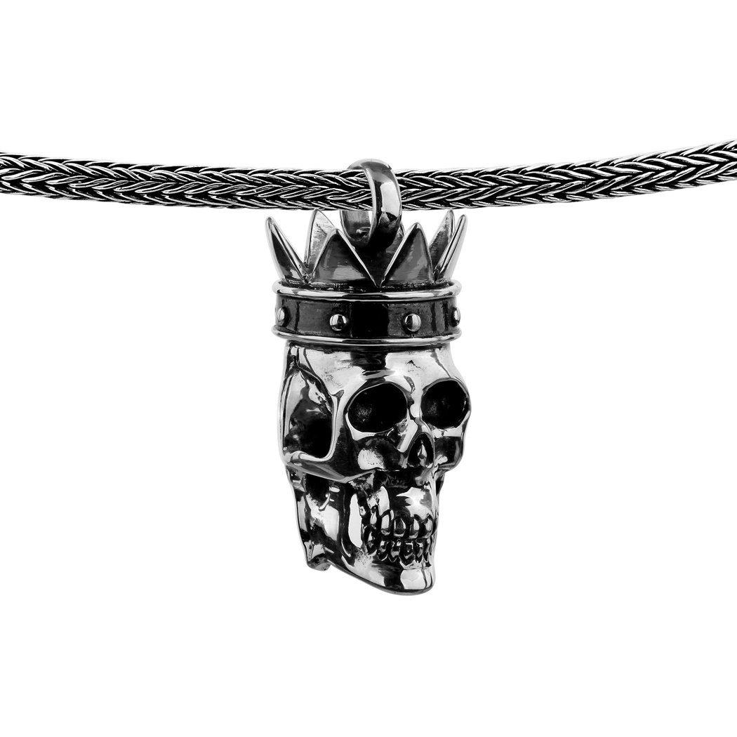 Kuzzoi Kette mit Anhänger (Set, 1 tlg), Herrenkette Zopfmuster mit Totenkopf mit Korne Anhänger