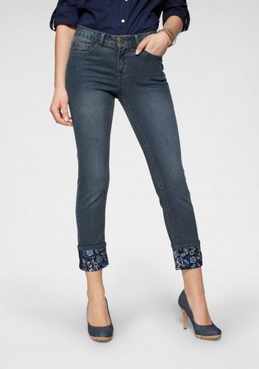 Arizona 7/8-Jeans  Turn - Up mit floralem Print  Mid Waist