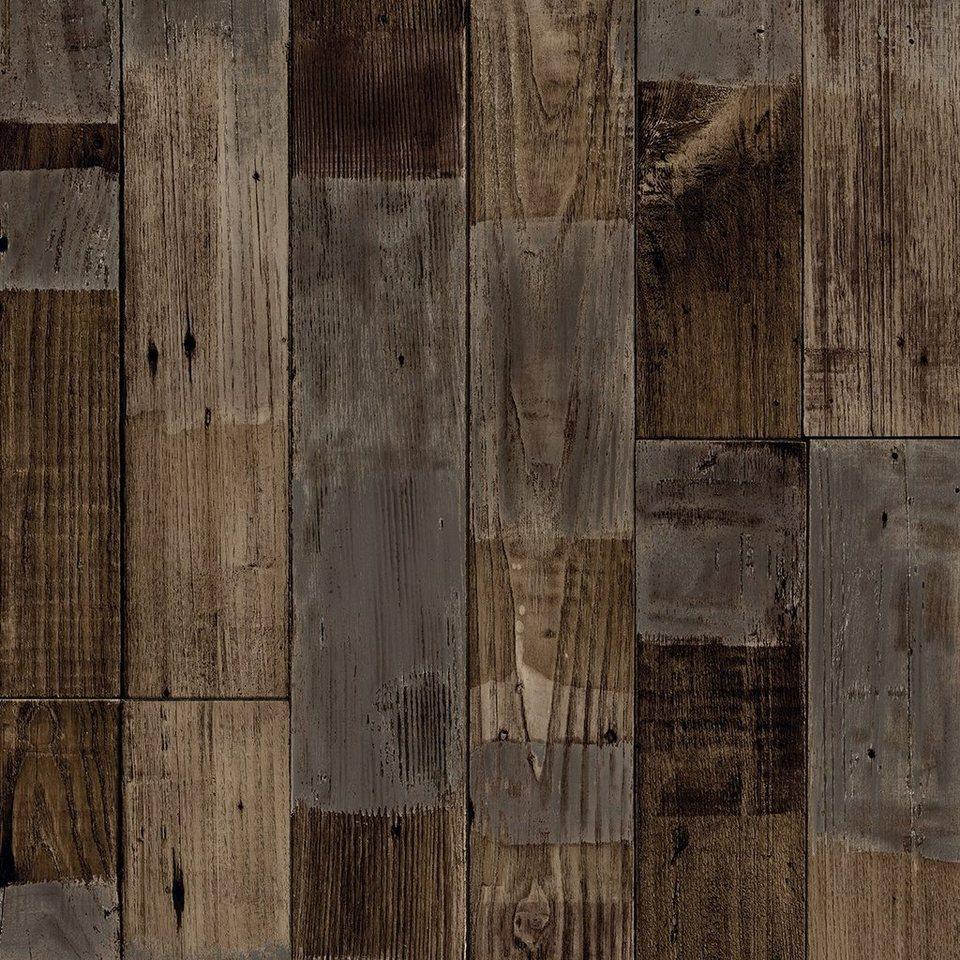 andiamo vinyl-boden »tas«, stab-optik vintage braun, breite 400 cm