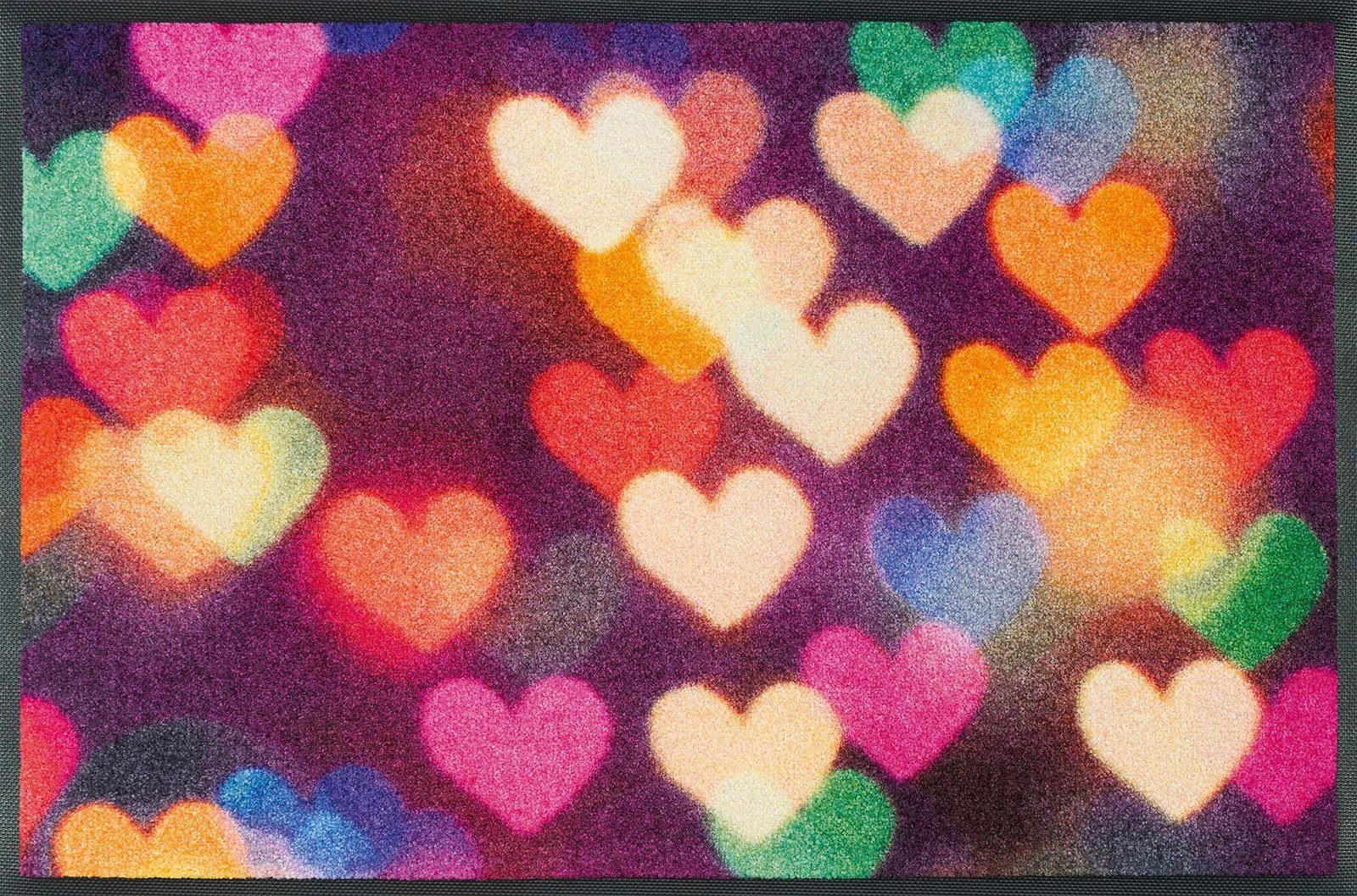 Fußmatte »City Hearts«, wash+dry by Kleen-Tex, rechteckig, Höhe 7 mm