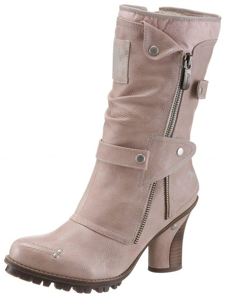 Mustang Shoes Winterstiefel mit auffäligem Zierreißverschluss außen | Schuhe > Stiefel > Winterstiefel | Rosa | Mustang Shoes