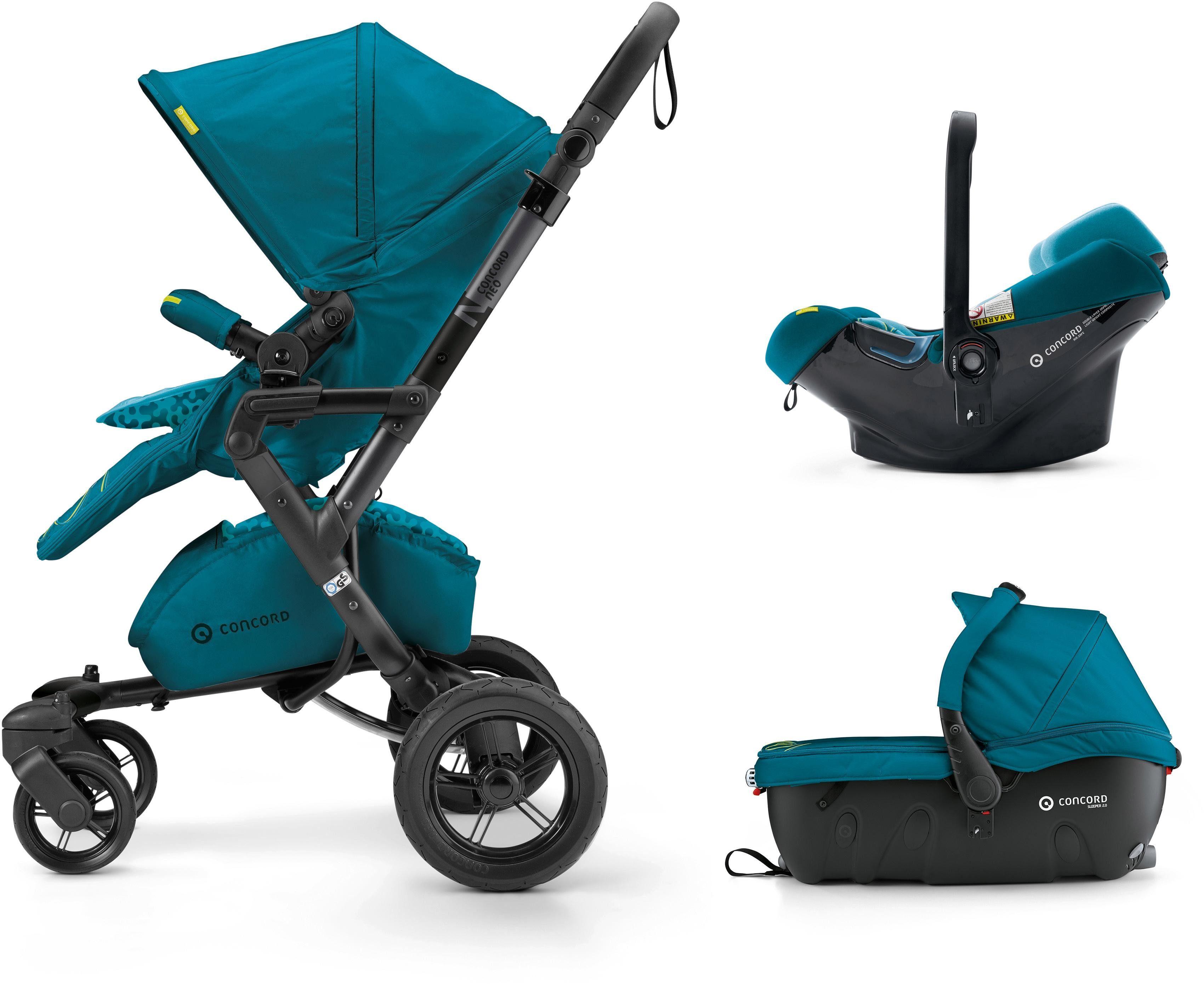 Concord Kinderwagen inkl. Babyschale, »Neo Travelset, Scuba Green«