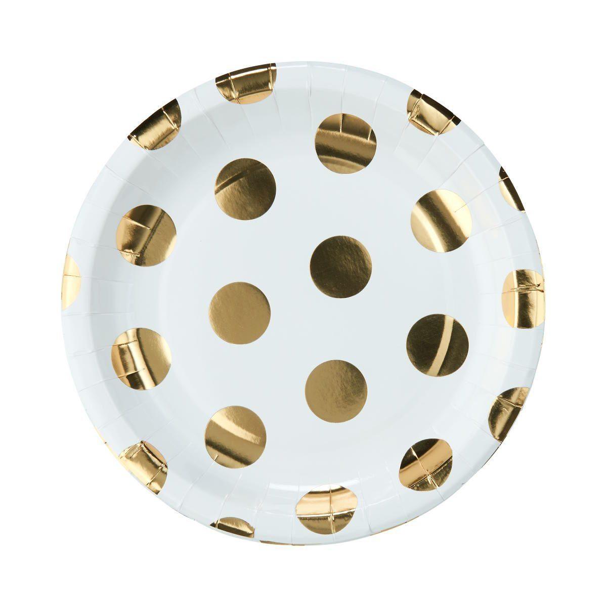 BUTLERS GOLDEN DOTS »Pappteller goldene Punkte Ø 23 cm«