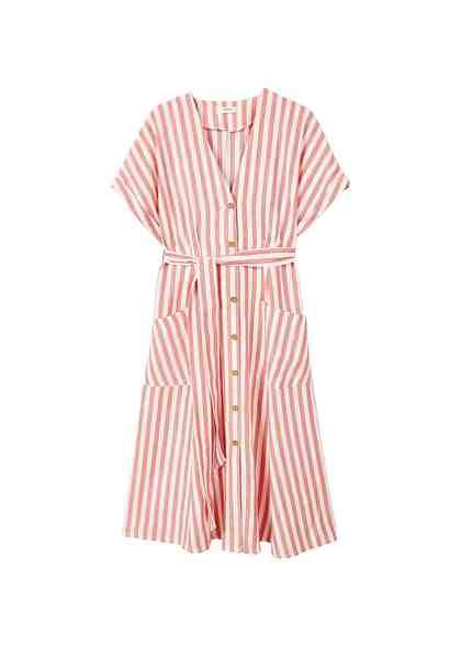 MANGO Gestreiftes Midi-Kleid