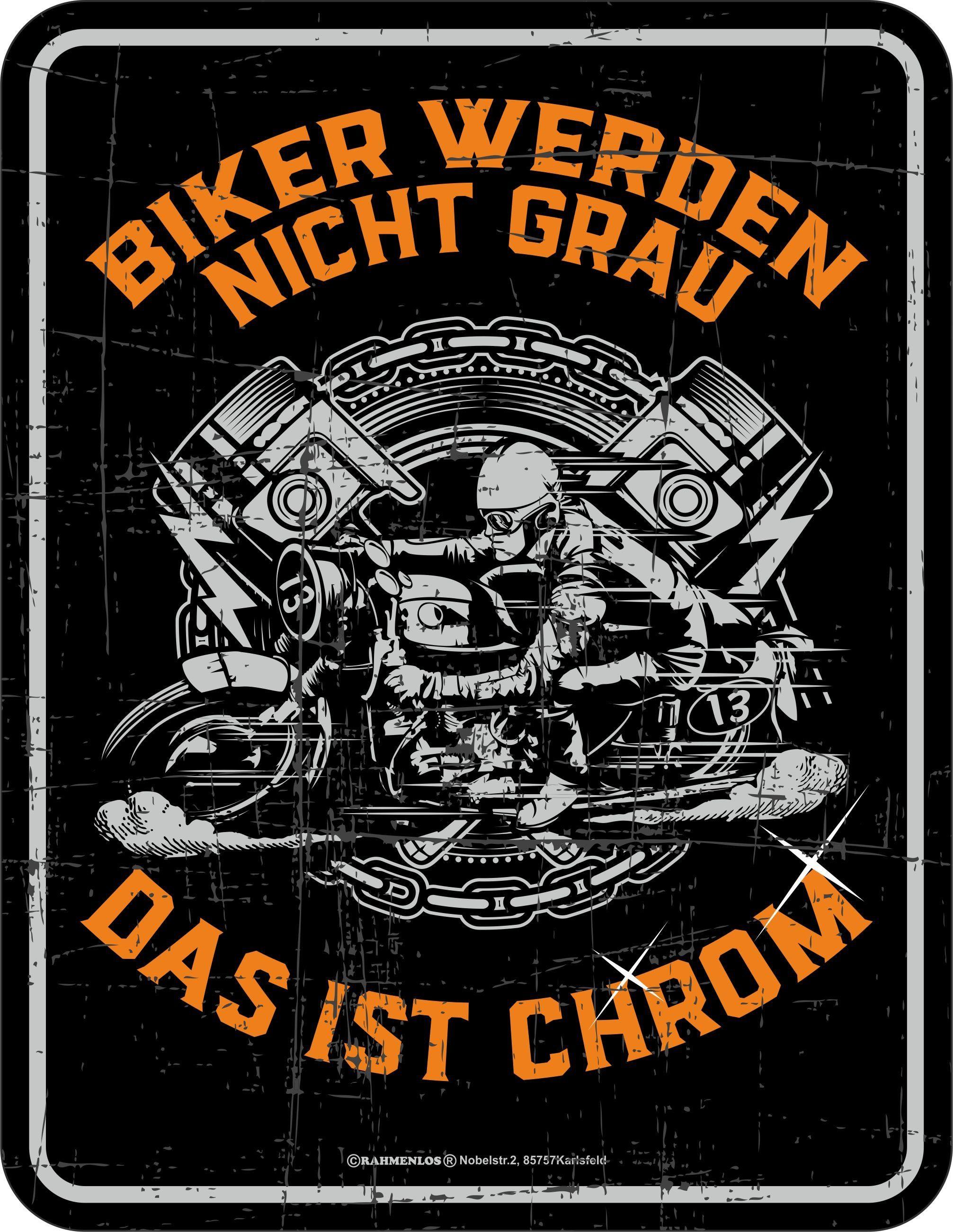 Rahmenlos Blechschild für den gestandenen Motorradfahrer