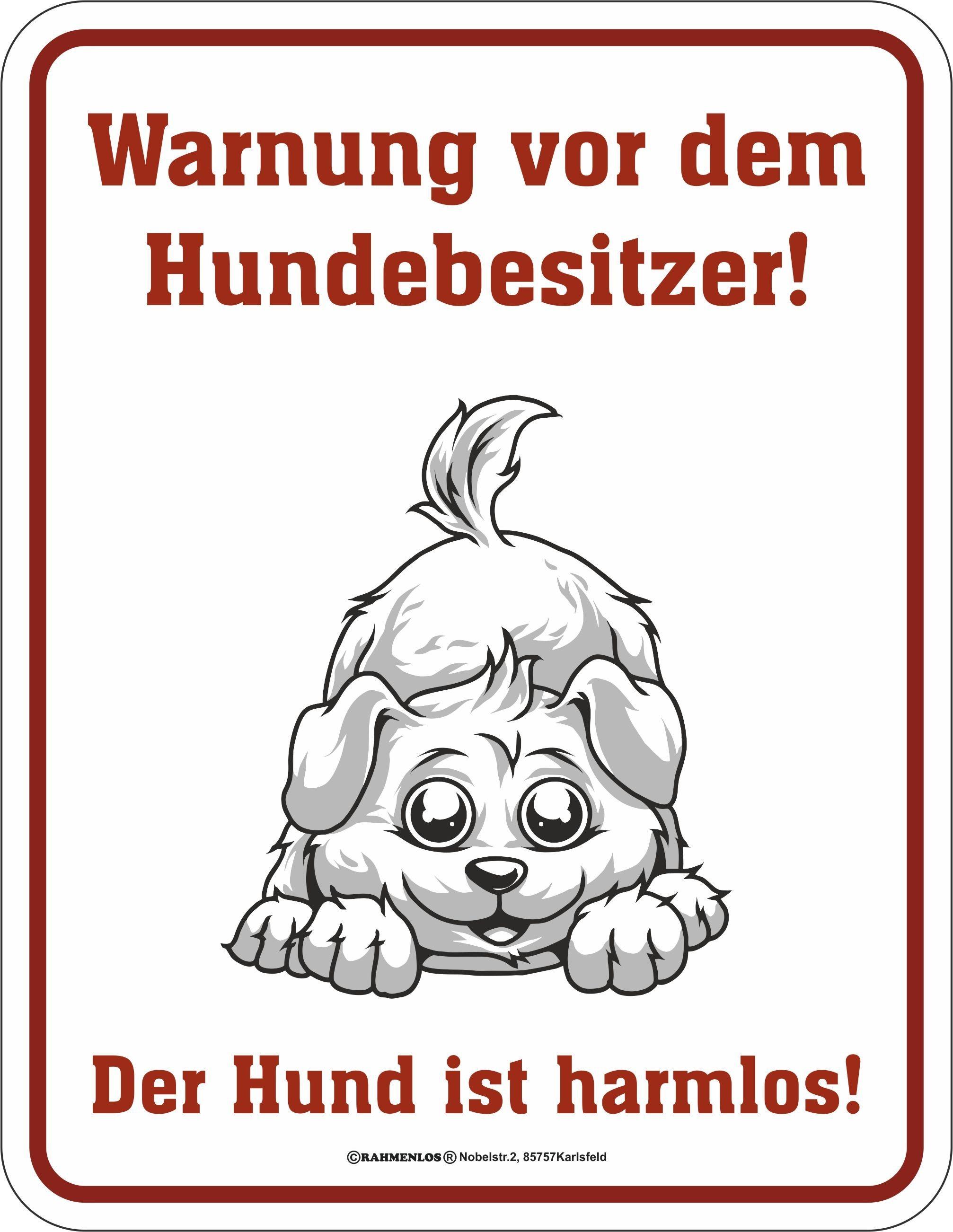 Blechschild mit lustigem Hunde-Print