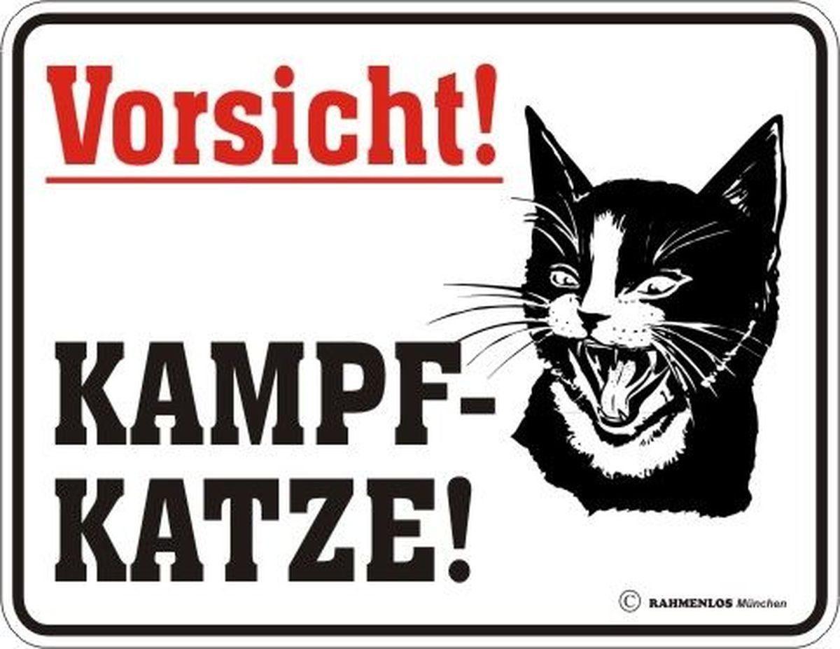 Rahmenlos Blechschild mit Kampfkatzen-Warnung