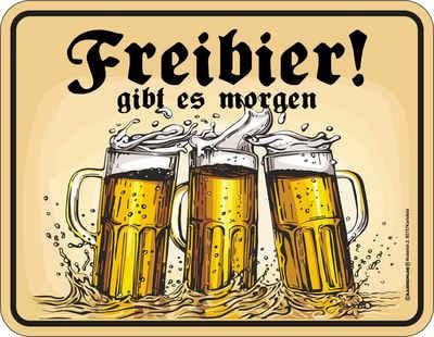 Rahmenlos Blechschild mit lustigem Bier-Motiv »Freibier gibt es morgen«