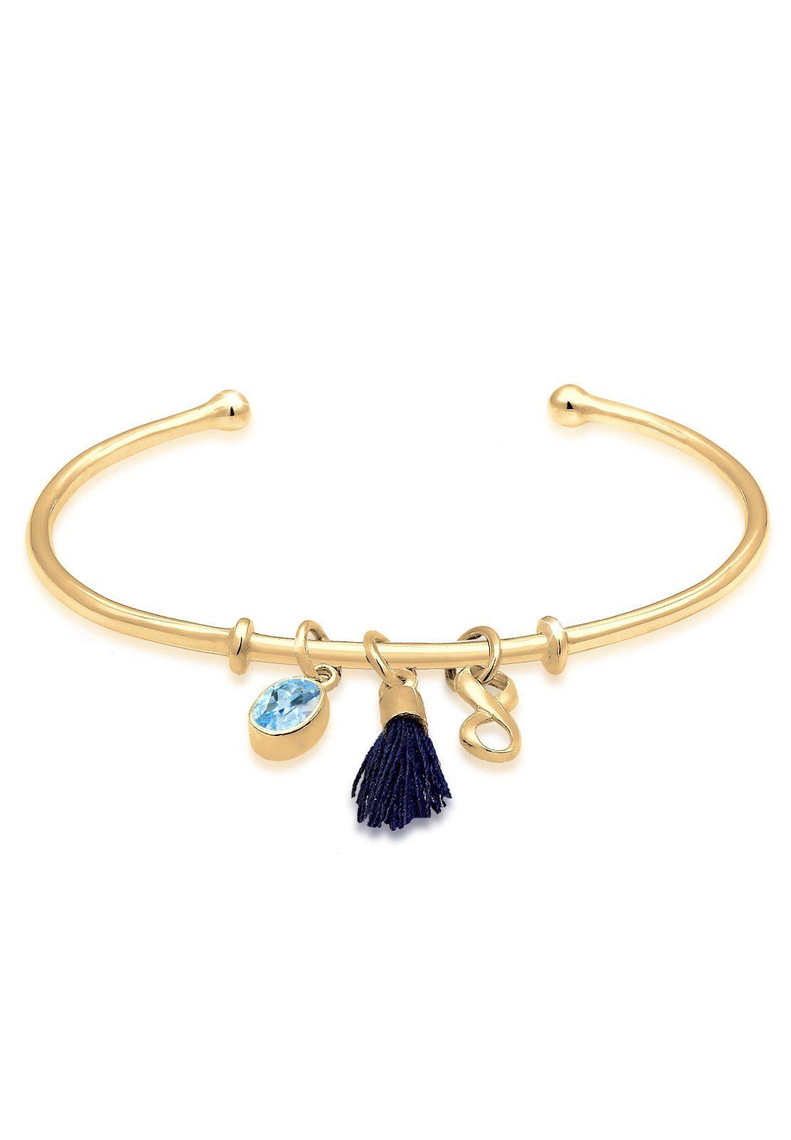Elli Armband »Armreif Infinity Tassel Topas 925 Silber Lilly«