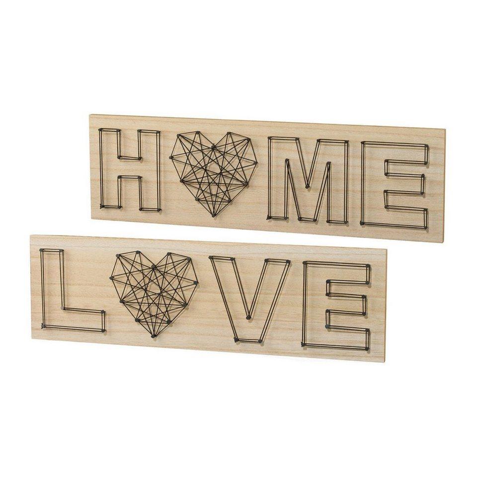 Holz Wanddeko »LOVE/HOME« (2er Set)