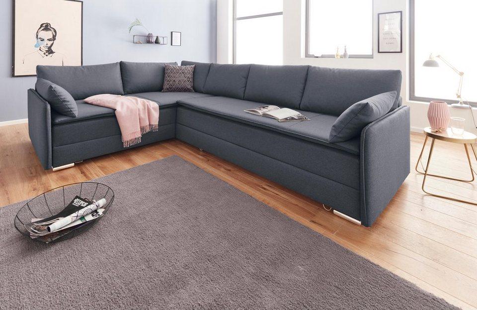 inosign polsterecke mit federkern mit bettfunktion und bettkasten online kaufen otto. Black Bedroom Furniture Sets. Home Design Ideas