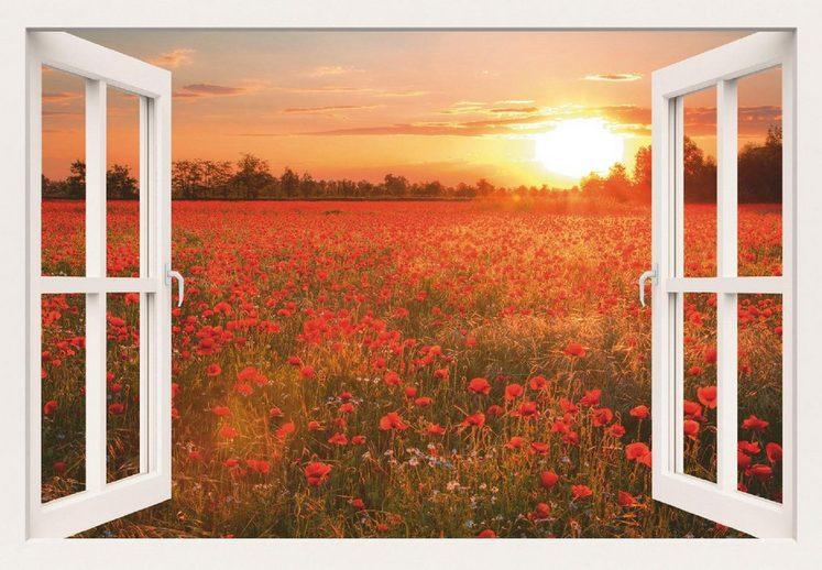 Home affaire Leinwandbild »A. Zornetta: Mohnblumenfeld bei Sonnenuntergang«, Blumen