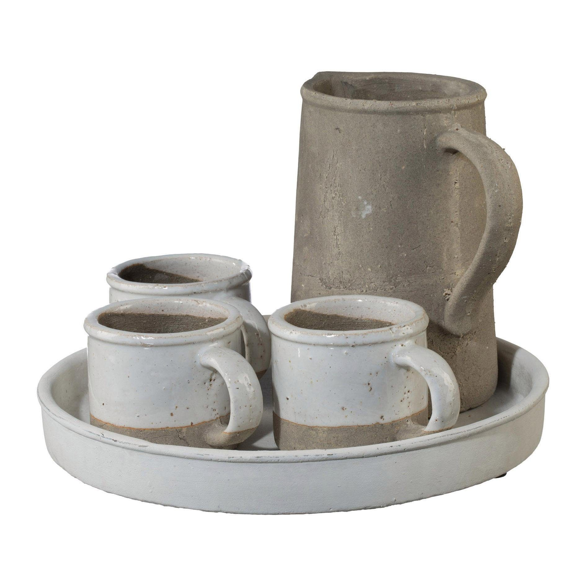 Keramik Outdoor Pflanzbecher x3 / Karaffe auf Tablett