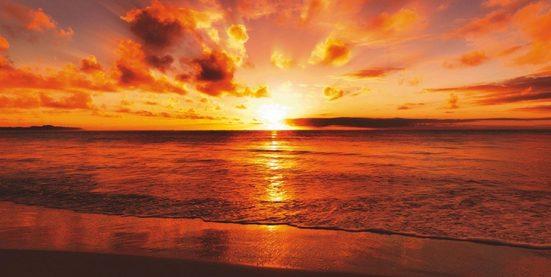 Home affaire Glasbild »idizimage: Schöner tropischer Sonnenuntergang am Strand«