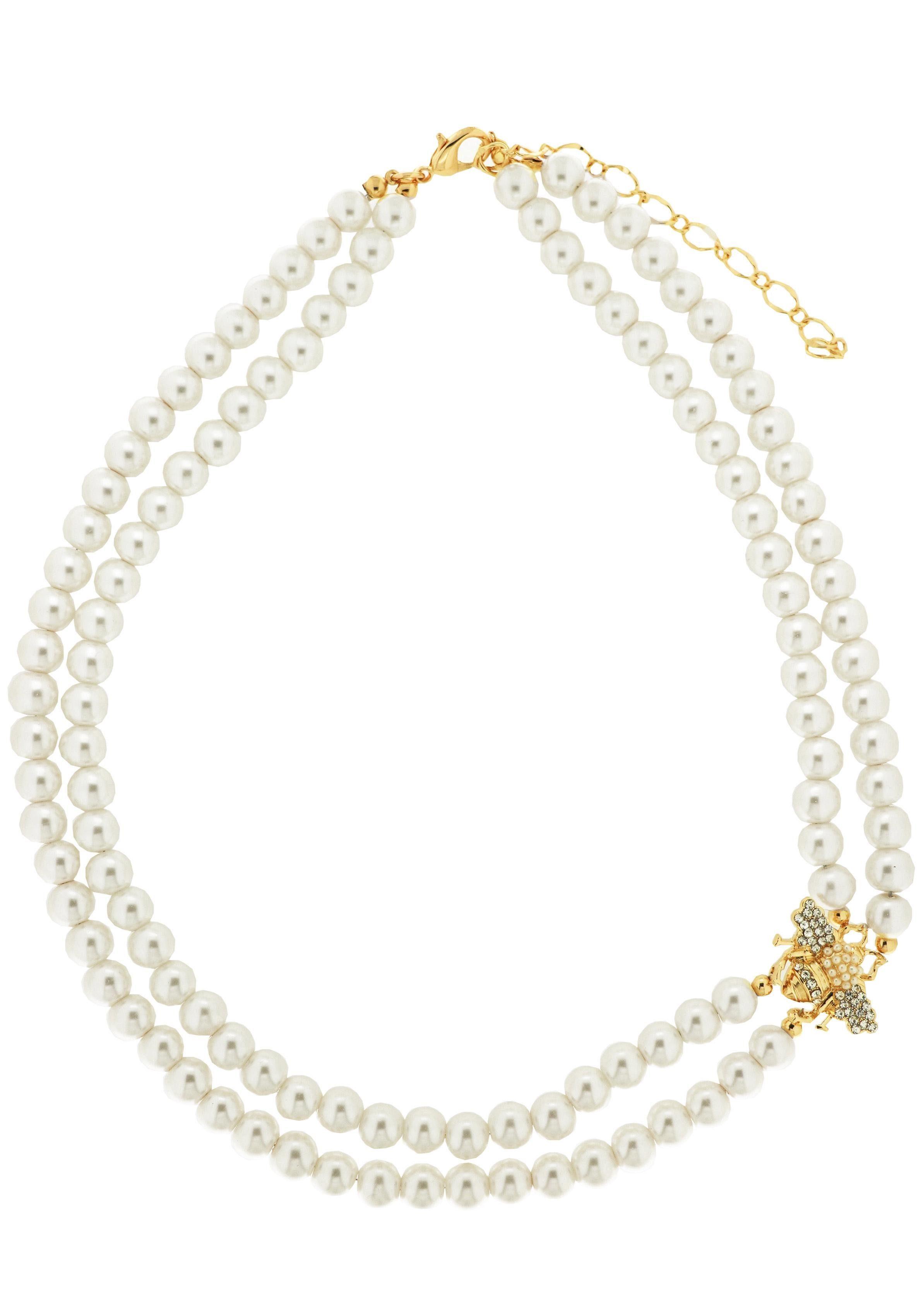 Sweet Deluxe Perlenkette »Pearls and Bee, 7808« mit Wachsperlen und Strasssteinen