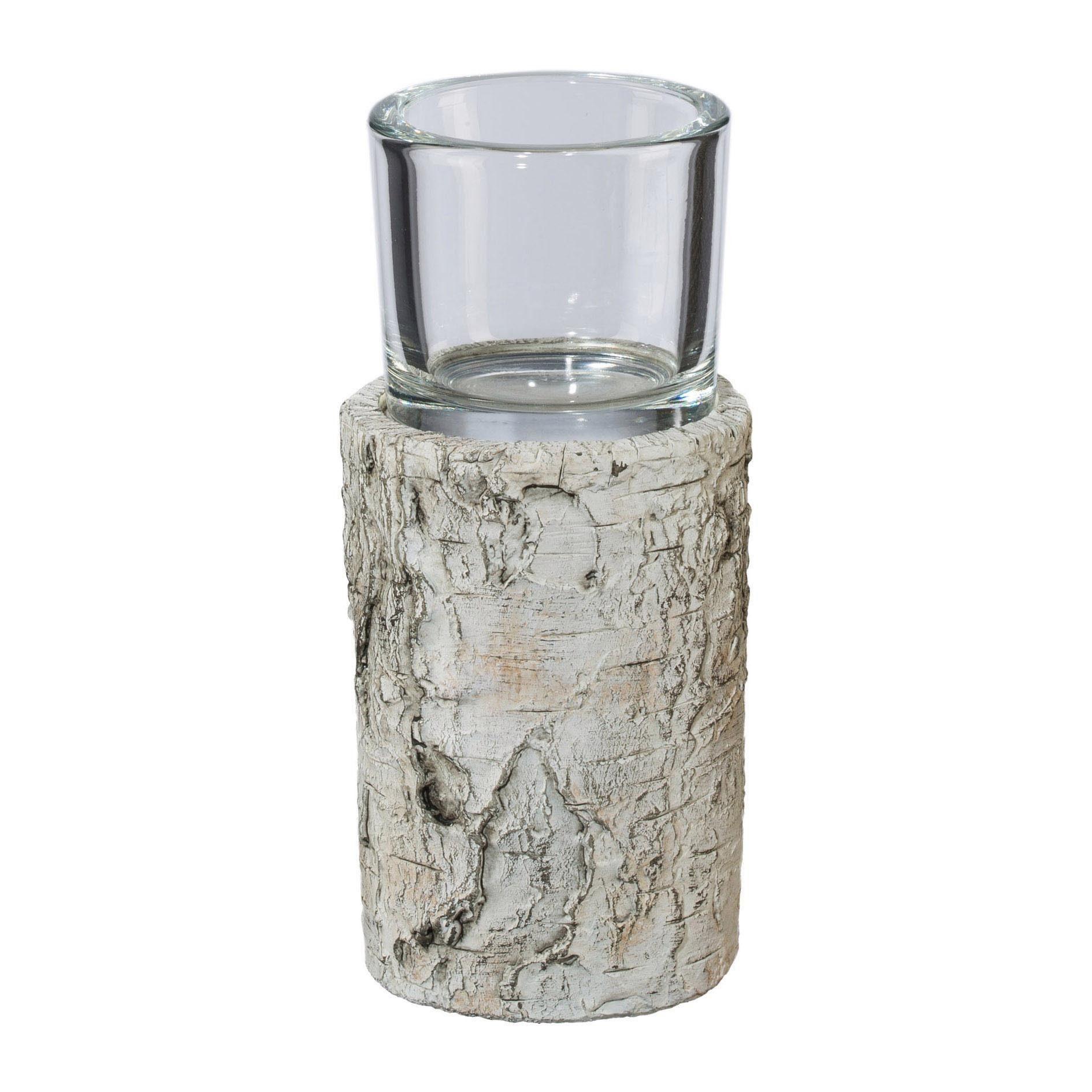 Keramik Windlichtbase mit Glas (2er Set)