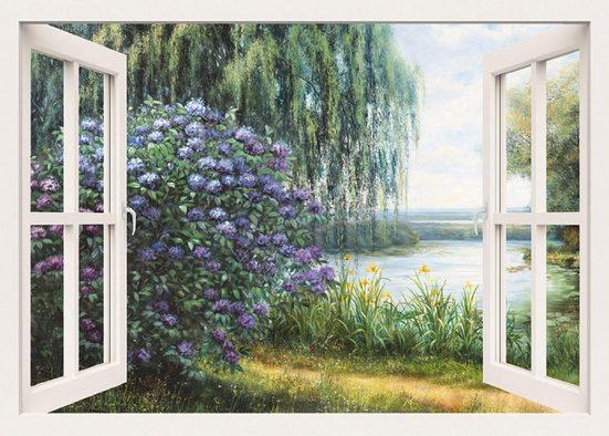 Home affaire Leinwandbild »Heins, A.: Hortensien am See«