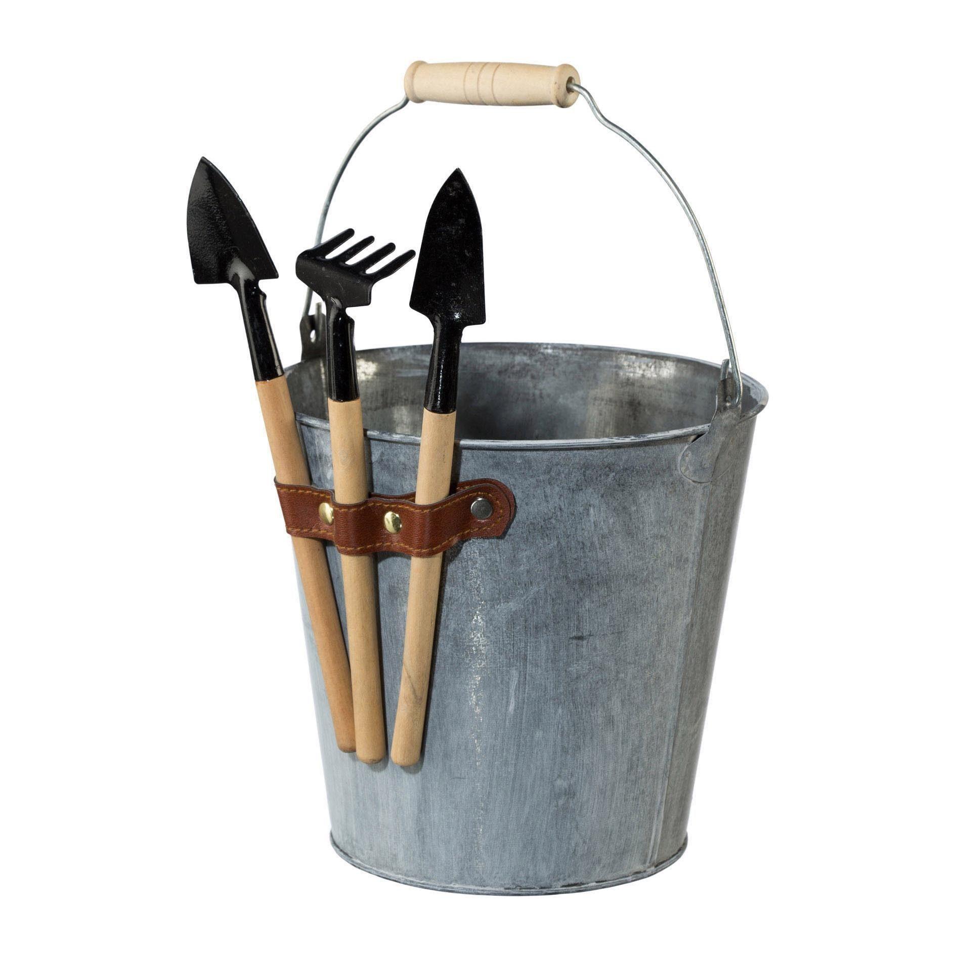 Zink Eimer mit Gartenwerkzeug THE GARDEN (2er Set)
