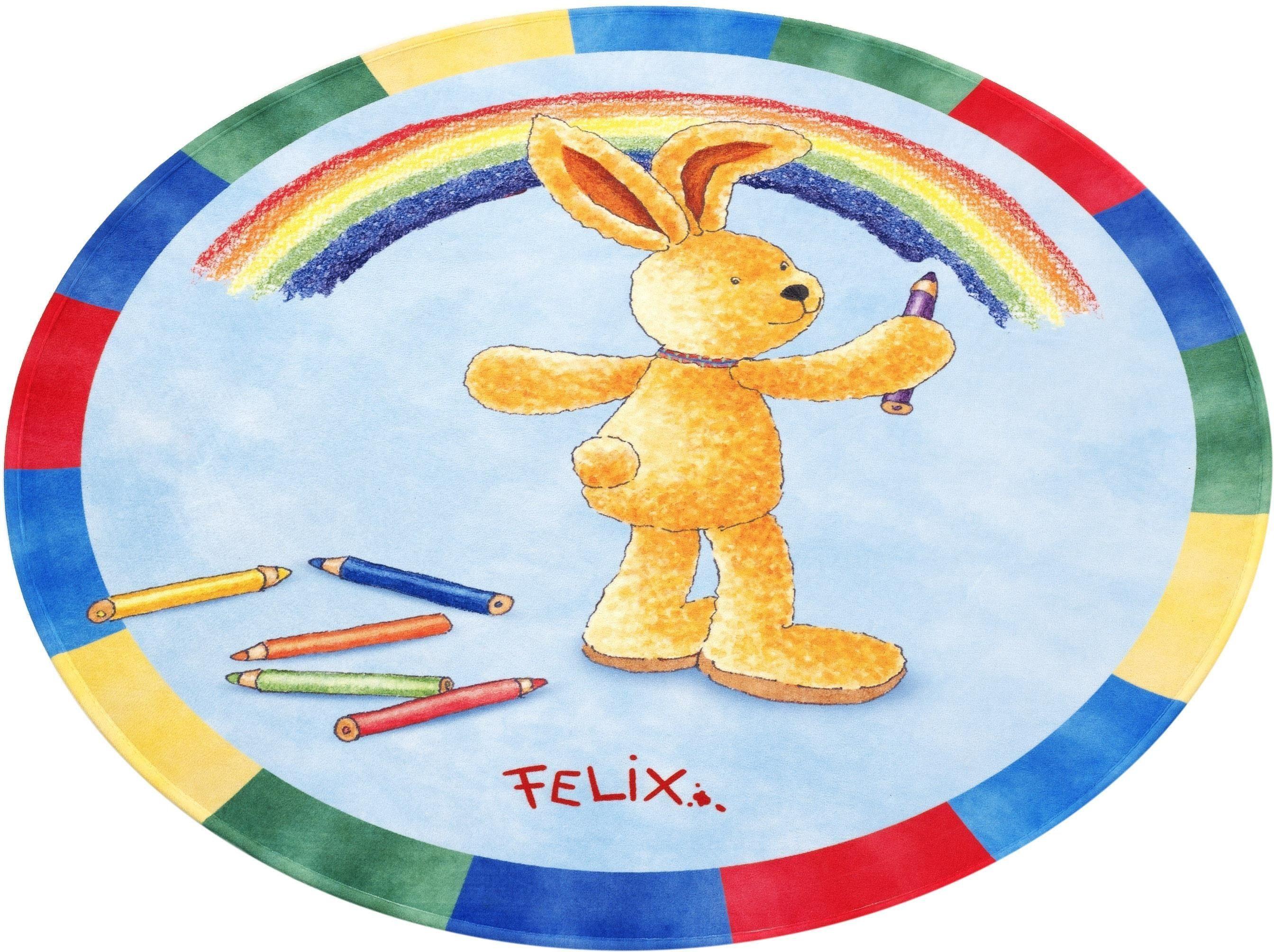 Kinderteppich »FE-412«, Felix der Hase, rund, Höhe 6 mm, Stoff Druck
