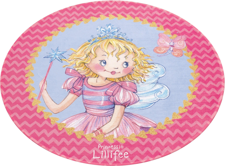 Kinderteppich »LI-110«, Prinzessin Lillifee, rund, Höhe 6 mm, Stoff Druck, weiche Microfaser