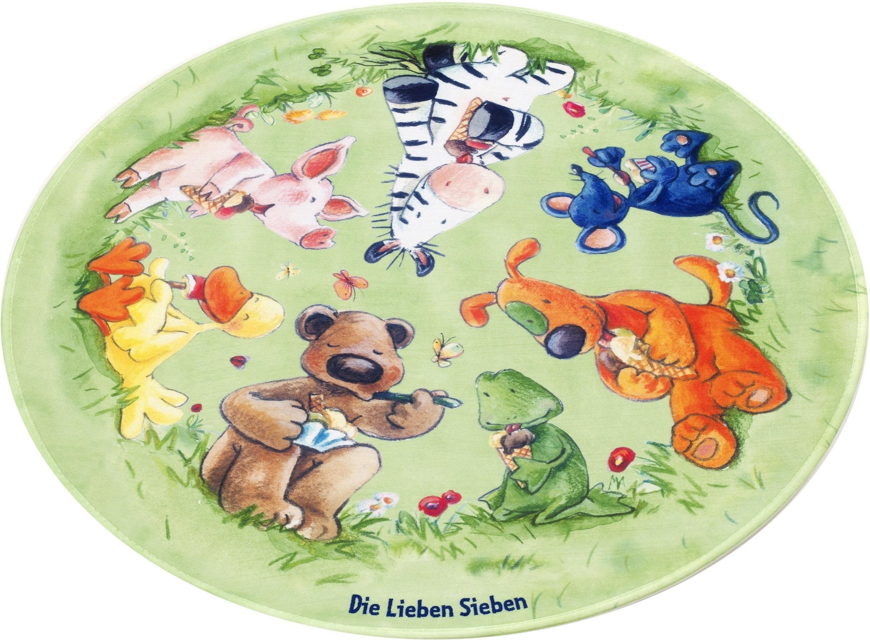 Kinderteppich »LS-214«, Die Lieben Sieben, rund, Höhe 6 mm, Stoff Druck, weiche Microfaser